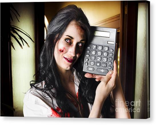 Keypad Canvas Print - Female Devil Business Woman Showing Profits by Jorgo Photography - Wall Art Gallery