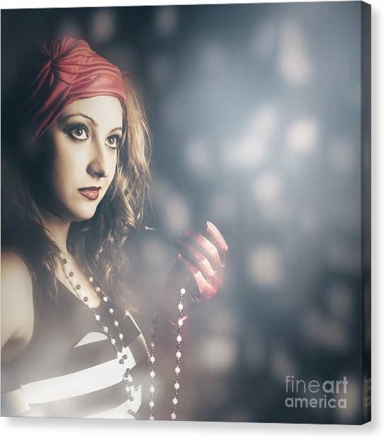 Beadwork Canvas Print - Female Fashion Model Holding Jewelry Necklace by Jorgo Photography - Wall Art Gallery