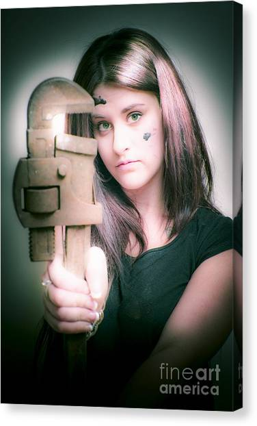 Plumber Canvas Print - Female Plumber With Wrench by Jorgo Photography - Wall Art Gallery