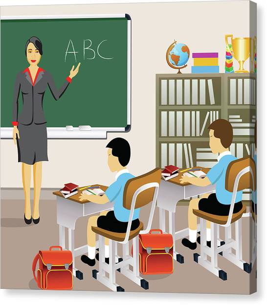 Classroom Canvas Print - Female Teacher With Students In A Classroom by Fanatic Studio / Science Photo Library