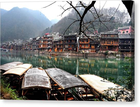 China Town Canvas Print - Fenghuang Ancient Town by Melindachan