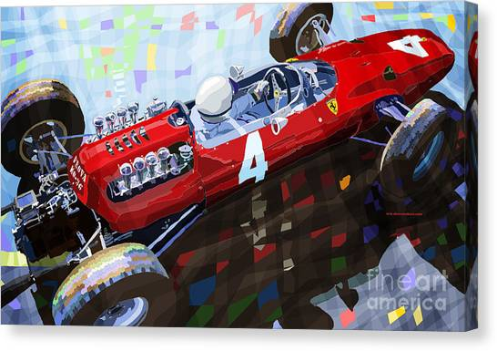 Transportation Canvas Print - 1965 British Grand Prix Silverstone  Lorenzo Bandini Ferrari 158 by Yuriy Shevchuk