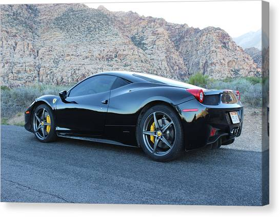 Red Rock Canvas Print - Ferrari And Mountains by Jeff Hawley