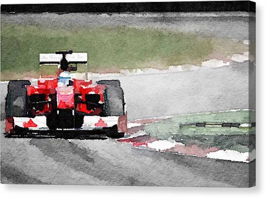Ferrari Canvas Print - Ferrari F1 Race Watercolor by Naxart Studio