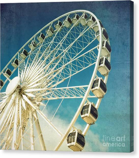 Wheels Canvas Print - Ferris Wheel Retro by Jane Rix