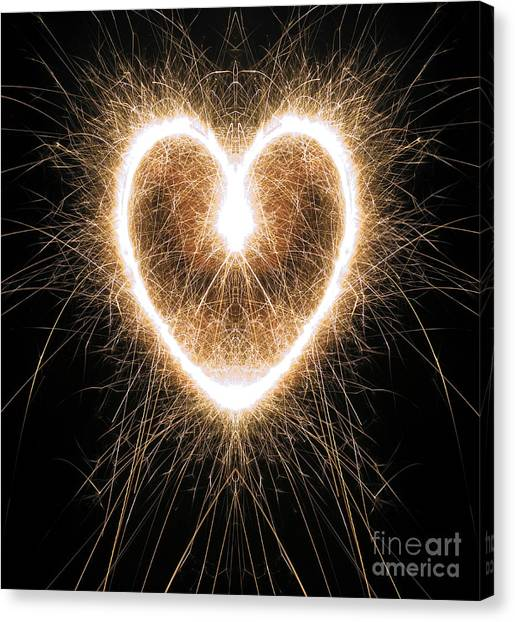 Sparklers Canvas Print - Fiery Heart by Tim Gainey