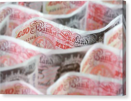 Economics Canvas Print - Fifty Pound Notes by Paul Rapson/science Photo Library