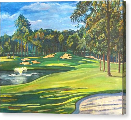 Final Hole At Walden On Lake Conroe Canvas Print by Frank Giordano