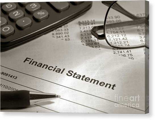 Ballpoint Pens Canvas Print - Financial Statement On My Desk by Olivier Le Queinec