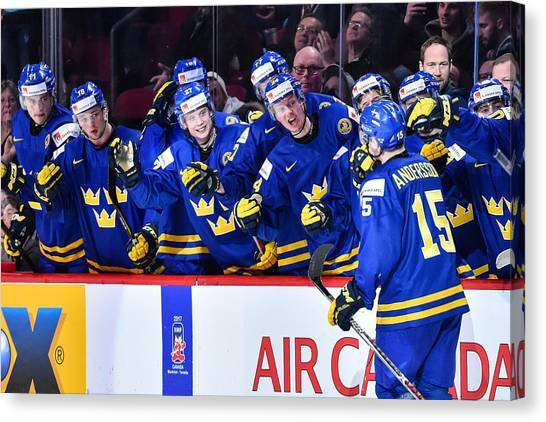 Finland V Sweden - 2017 IIhf World Junior Championship Canvas Print by Minas Panagiotakis