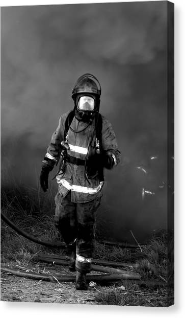 Volunteer Firefighter Canvas Print - Firefighter by Amanda Stadther