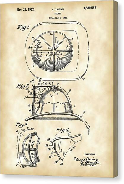 Volunteer Firefighter Canvas Print - Firefighter's Helmet Patent 1932 - Vintage by Stephen Younts