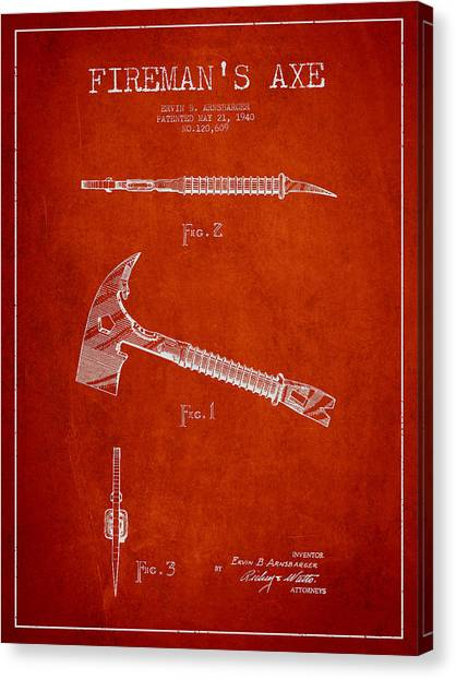 Firefighters Canvas Print - Fireman Axe Patent Drawing From 1940 by Aged Pixel