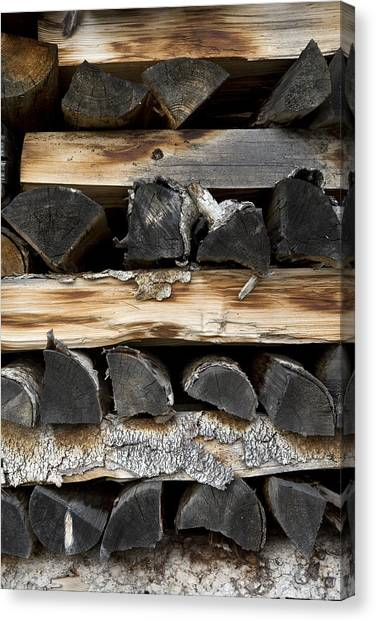 Oven Canvas Print - Firewood Stack by Frank Tschakert