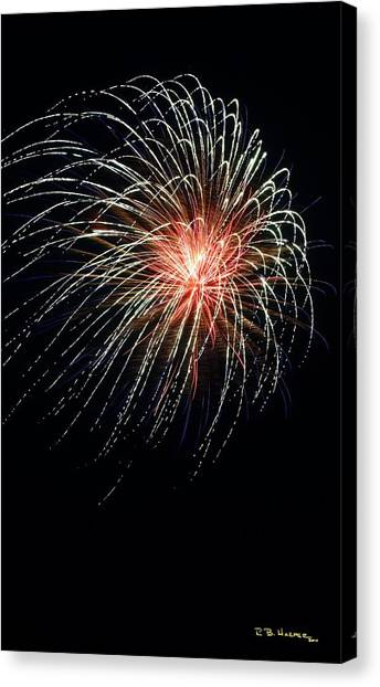 Canvas Print featuring the photograph Fireworks At St Albans Bay by R B Harper