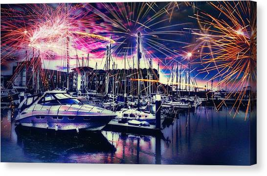 Greece Canvas Print - Fireworks Over Hull Marina England by Chris Drake