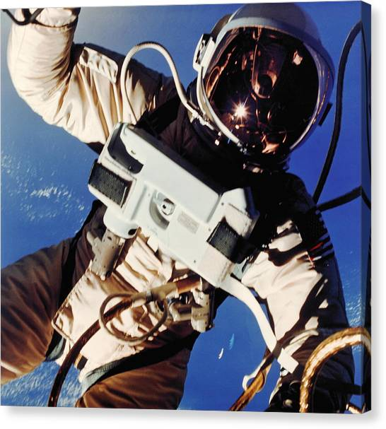 Space Suit Canvas Print - First American Space Walk by Nasa/science Photo Library