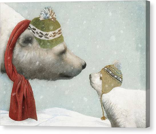 Polar Bears Canvas Print - First Winter by Eric Fan
