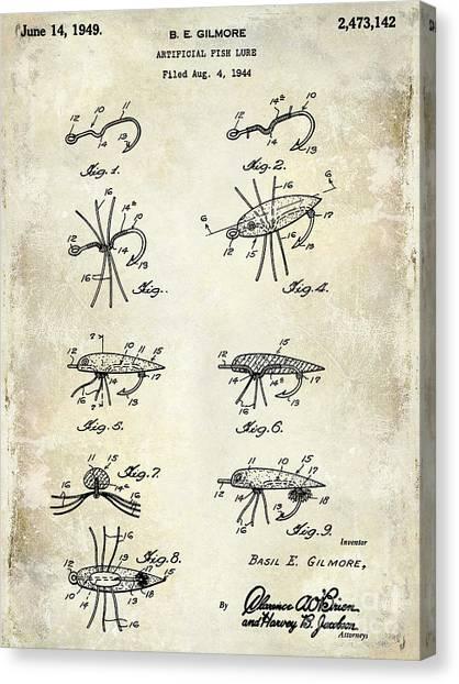 Fishing Poles Canvas Print - Fishing Lure Patent  by Jon Neidert