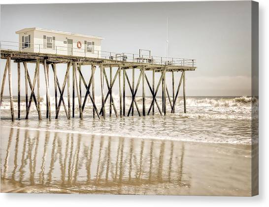 Canvas Print featuring the photograph Fishing Pier by Steve Stanger