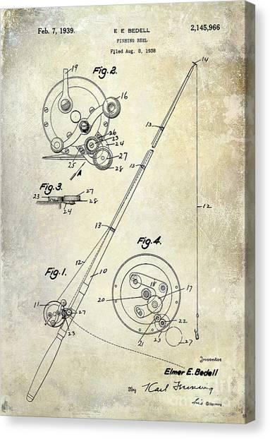 Fishing Poles Canvas Print - Fishing Reel Patent 1939 by Jon Neidert