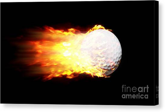Fast Ball Canvas Print - Flame Golf Ball by Jorgo Photography - Wall Art Gallery