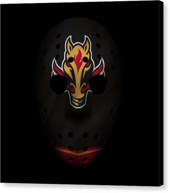 Calgary Flames Canvas Print - Flames Jersey Mask by Joe Hamilton