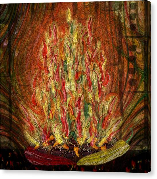Stuffing Canvas Print - Flaming Peppers by Jack Zulli
