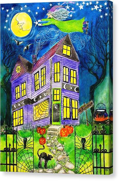 Flight Of The Moon Witch On Hallows Eve Canvas Print