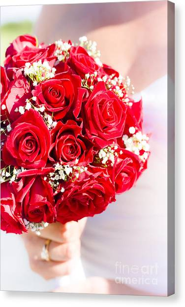 Bridal Canvas Print - Floral Rose Boquet Held By Bride by Jorgo Photography - Wall Art Gallery