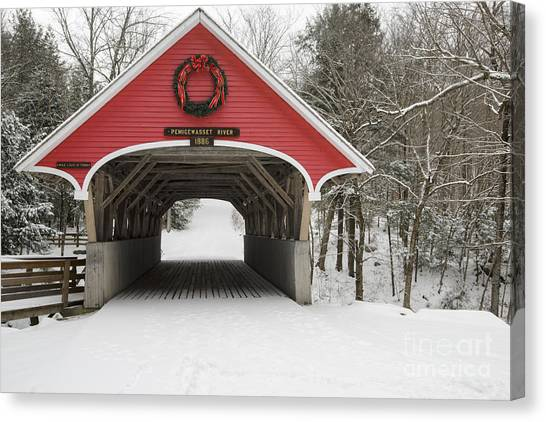 Canvas Print featuring the photograph Flume Covered Bridge - White Mountains New Hampshire Usa by Erin Paul Donovan