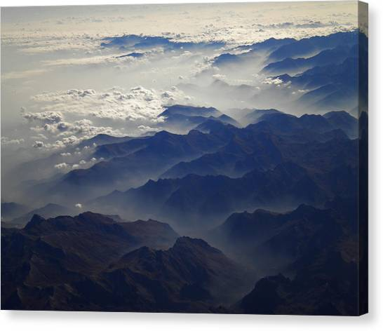 Flying Over The Alps In Europe Canvas Print