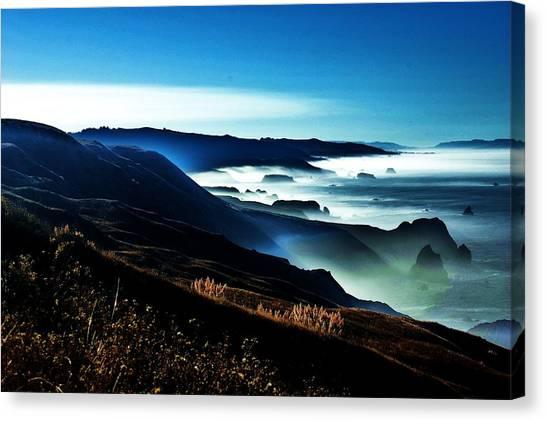 Fog Rising Canvas Print by Helen Carson