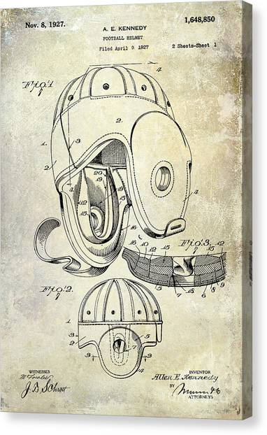 Miami Dolphins Canvas Print - 1927 Football Helmet Patent by Jon Neidert