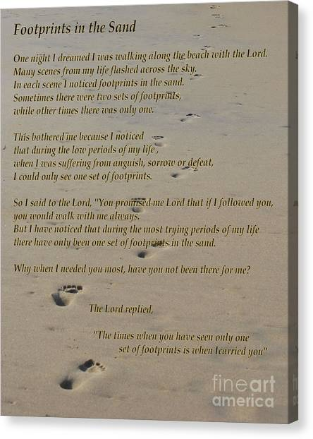 Footprints In The Sand Poem Canvas Print
