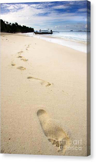 Phi Phi Island Canvas Print - Footprints On Tropical Beach by Jorgo Photography - Wall Art Gallery