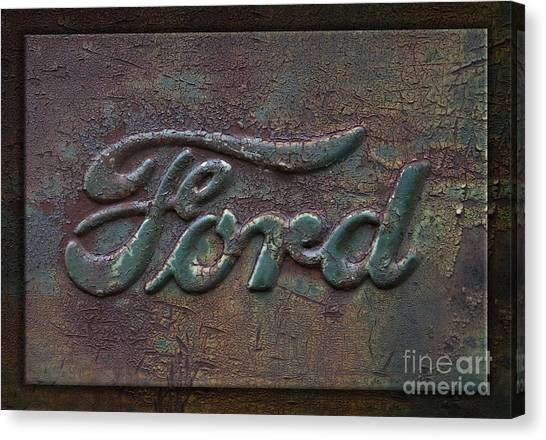 Detail Old Rusty Ford Pickup Truck Emblem Canvas Print