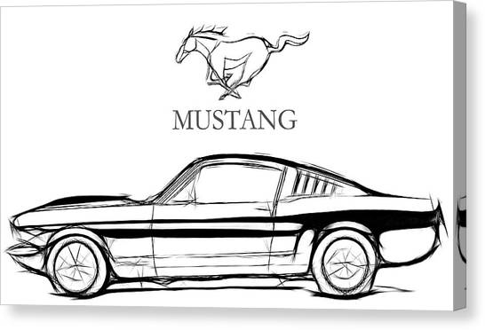 Classic Car Drawings Canvas Print - Ford Mustang by Steve K