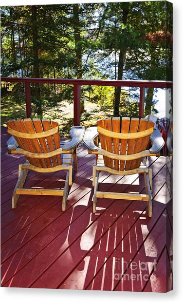 Adirondack Chair Canvas Print - Forest Cottage Deck And Chairs by Elena Elisseeva