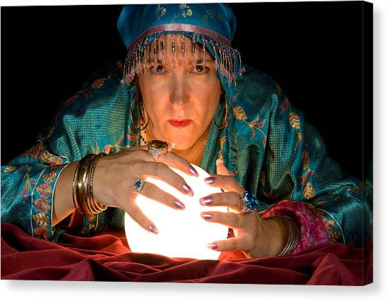 Fortune Teller And Crystal Ball Canvas Print