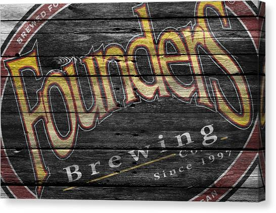 Beer Can Canvas Print - Founders by Joe Hamilton