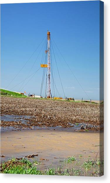 Fracking Canvas Print - Fracking Drill Rig by Jim West