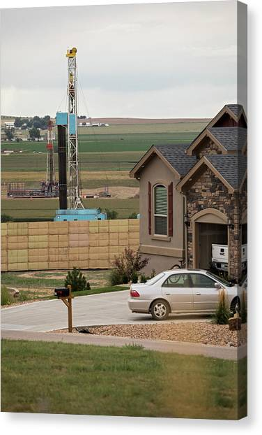 Fracking Canvas Print - Fracking Site Near Homes by Jim West/science Photo Library