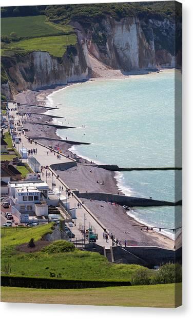 Beach Cliffs Canvas Print - France, Normandy, Pourville Sur Mer by Walter Bibikow