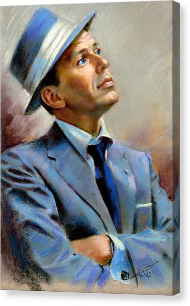 Celebrity Canvas Print - Frank Sinatra  by Ylli Haruni