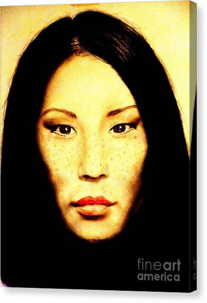 Lucy Liu Canvas Print - Freckle Faced Beauty Lucy Liu  by Jim Fitzpatrick