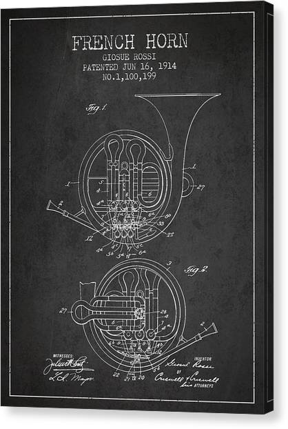 Brass Instruments Canvas Print - French Horn Patent From 1914 - Dark by Aged Pixel