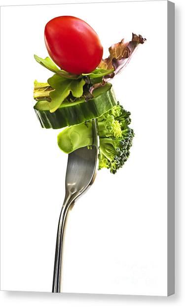 Broccoli Canvas Print - Fresh Vegetables On A Fork by Elena Elisseeva