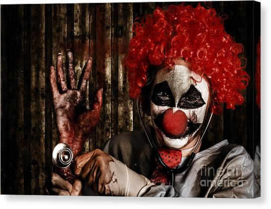 Clown Art Canvas Print - Frightening Clown Doctor Holding Amputated Hand  by Jorgo Photography - Wall Art Gallery