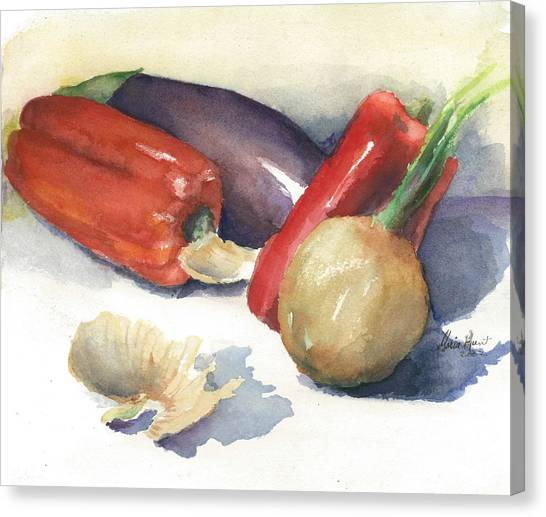 Onion Canvas Print - From Auntie's Garden by Maria Hunt